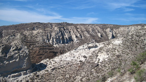 Steep ravines have been carved into the Minoan deposits on Santorini. These are some of the more gentle ones, which have been terraced for agriculture, although the terraces are now disused.