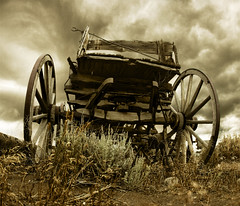 Oregon Trail (Joe Chiapputo Photography) Tags: old brown west fall sepia oregon america wagon town rust cowboy time decay indian tan trail american destiny western aged toned tone conestoga apart westward manifest