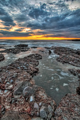 The one with the water hole (Axleuk) Tags: longexposure sunset sea seascape water southwales wales rocks swell hdr bridgend porthcawl ndfilter restbay canon450d