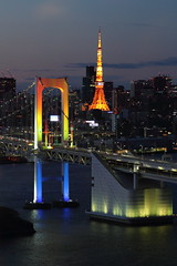 Odaiba at night (Spice  Trying to Catch Up!) Tags: ocean trip travel sea sky art water japan canon buildings photography eos lights tokyo photo asia flickr image picture blogger livejournal 7d tokyotower  odaiba     rainbowbridge facebook      digitalcameraclub twitter tumblr
