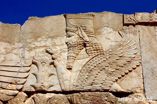 فارس ، مرودشت ، تخت جمشید  ( لاماسو ؛ حافظ فر - که از فرهنگ و هنر آشوری وام گرفته شده - در گوشه و کنار کنده کاری های تخت جمشید دیده میشود ) 89 by setare motazedi