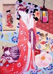 ATC718 - The courtesan and her sleepy attendant (tengds) Tags: flowers atc collage kimono multicolored attendant redorange papercraft courtesan handmadecard japanesewoman tengds