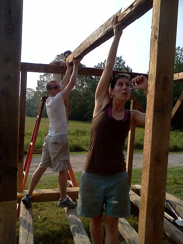 Callie and Matt, fitting the middle tie beam