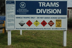 Dangerous trams (railfan3) Tags: sign warning metro south australia adelaide sta mtt adelaidemetro glengowrie