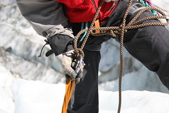 Descent ice climbing, close-up (!.Keesssss.!) Tags: newzealand people snow ice horizontal closeup outdoors photography day rope safety adventure climbing glove exploration oneperson gettyimages royaltyfree movingup midsection colorimage focusonforeground warmclothing theflickrcollection keessmans 227ksgetty