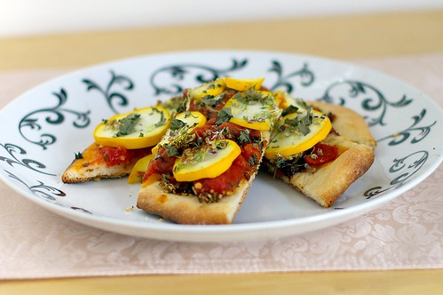 Brushetta and yellow zuchinni pizza