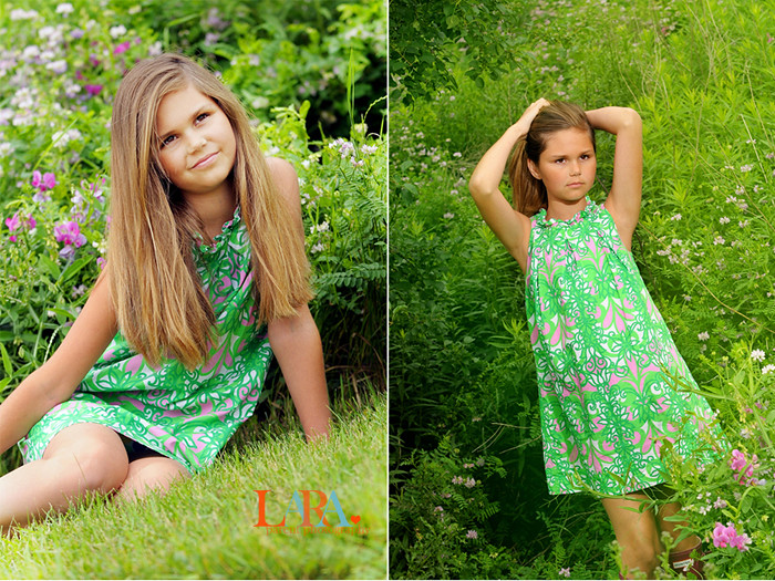 girl in lilly pink and green
