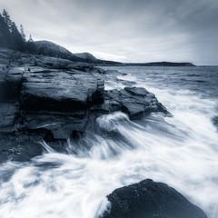 ebb (Nate Parker Photography) Tags: ocean blue summer sky blackandwhite bw seascape monochrome landscape dawn twilight rocks waves time maine atlanticocean barharbor acadianationalpark haveaniceday