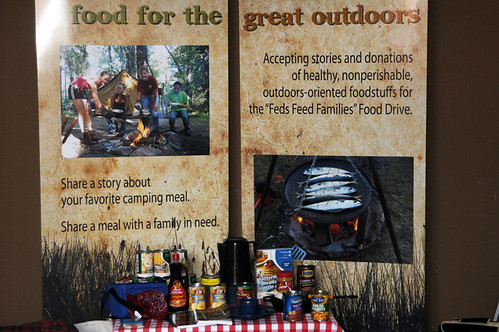 "Favorite foods and recipes donated by Forest Service Feds under the theme  ""Food for the Great Outdoors"" to include a Forest Service camping cook book to canned goods to  S'mores and more !"