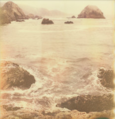surf comes in (lawatt) Tags: ocean film beach water polaroid pacific pointreyes slr680 ff kehoe theimpossibleproject px680