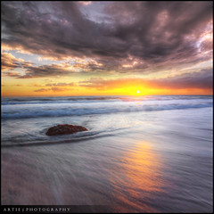 Seaweed Congregation :: HDR +  0.6 ND Pro Lee Filter :: Vertorama (:: Artie | Photography :: Offline for 3 Months) Tags: sunset sky seascape beach water clouds photoshop landscape landscapes movement tripod australia nd adelaide filters 06 southaustralia glenelg hdr artie cs3 seaweeds leefilter vertorama