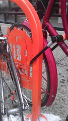 Different ways to lock bikes on the WPB RIDES rack (Steven Vance) Tags: road street orange wickerpark bike bicycling design wpb bicicleta transportation vlo bikerack ssa roadway dero milwaukeeavenue bikeparking bikecorral wickerparkbucktown onstreetbikeparking ssa33 bikeparkingcorral bikechi wpbrides