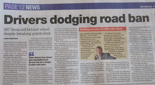 More news has come to light from Scotland where at least 387 drivers have more than 12 points on their licence