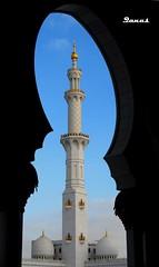 ~ Ramdan Mubarak ~ (.ღ♫°Qanas°♫ღ.) Tags: shadow sky white up gold blackwhite nikon united capital uae mosque emirates zayed arab dome abu dhabi ramadan shaikh quba qanas rashed mubarak manarah d40x alzaabi