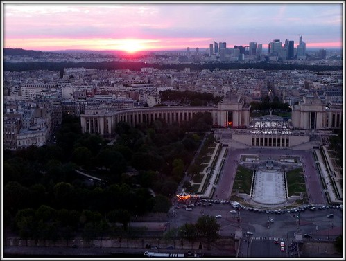 Down View from Eiffel tower 2nd floor restaurant by Ginas Pics