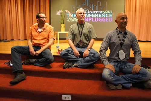 Vincent Horn, Kenneth Folk, and Hokai Sobol during unplugged Pragmatic Dharma discussion