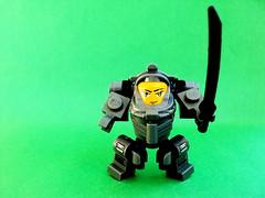 "Mecha ""Tablescrap"" (""Squeezy"") Tags: green lego small scrap bot mech backround"