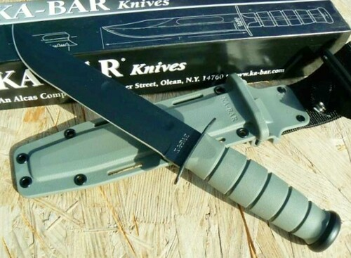 "KA-BAR Foliage Green Fighting Knife 11.75"" Overall Fixed Blade w/Kraton"