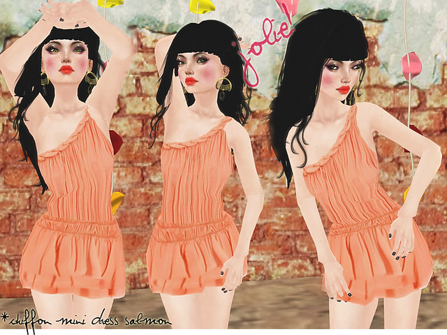 Jolie! Chiffon mini dress salmon