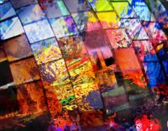 Disco colors (Suzel...) Tags: blue red orange art colors yellow jaune canon painting rouge disco couleurs bleu tableau boule abstrait multicolore miroirs facettes flickrchallengewinner