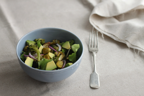 Roasted Brussels sprouts and avocado salad