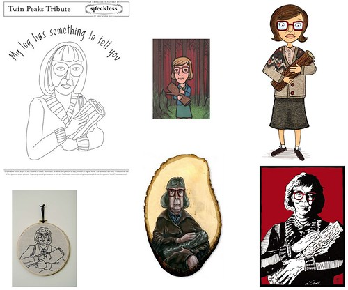 Log Lady fan art--four paintings, two embroidery pieces