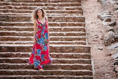 sophia in red (helen sotiriadis) Tags: red portrait stone stairs canon published dress bokeh steps athens depthoffield greece sophia reddress filothei canon70200f28lisusm canoneos40d