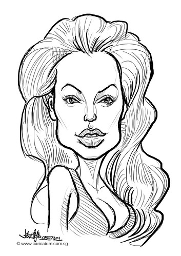 digital caricature sketch of Angelina Jolie