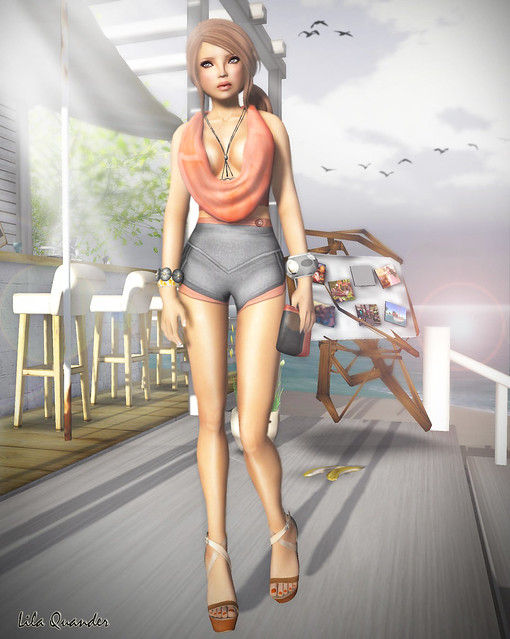 The Sea Hole - Scarf Halter top Sculpted Scarf & Maddy Shorts - Persimmon
