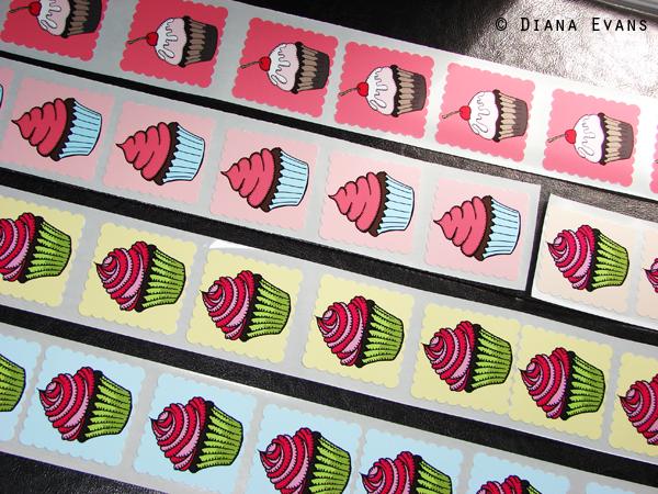 Handmade Hand Embellished Cupcake Stickers