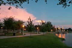 Around The Lake (Patti-Jo) Tags: park longexposure sunset lights florida dusk lamppost lakeland 1755 lakemirror polkcounty
