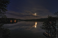 Night at Long Pond (Micha67) Tags: sky moon lake nature water night reflections stars evening michael nikon adirondacks micha upstatenewyork newyorkstate willsboro adirondack schaefer d300 longpond 2011 ptf