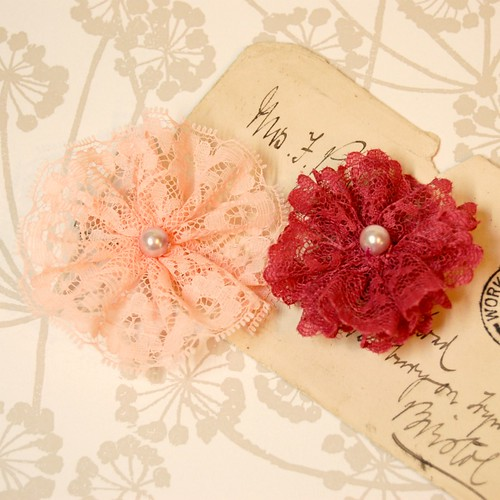 Vintage Lace Rosettes by gracefaceboutique