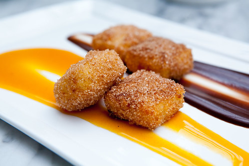 Fried Milk (leche frita) with Chocolate and Passion Fruit sauces