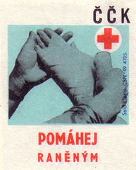 Help the wounded (oliver.tomas) Tags: print graphicdesign 1971 czech ephemera health solo 1970s czechoslovakia redcross slovak matchboxlabels lipnik