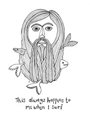 This always happens when I surf (Maddie Joyce) Tags: camping fish man mountains art illustration pen beard happy maddie surf hiking hippy surfing adventure joyce watercolour ponch aurf wwwthemagicbuscollectivecom wwwmaddiejoyceartblogspotcom