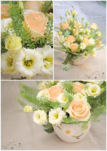 peach avalanche roses - flowers arrangement ( aranjament floral )