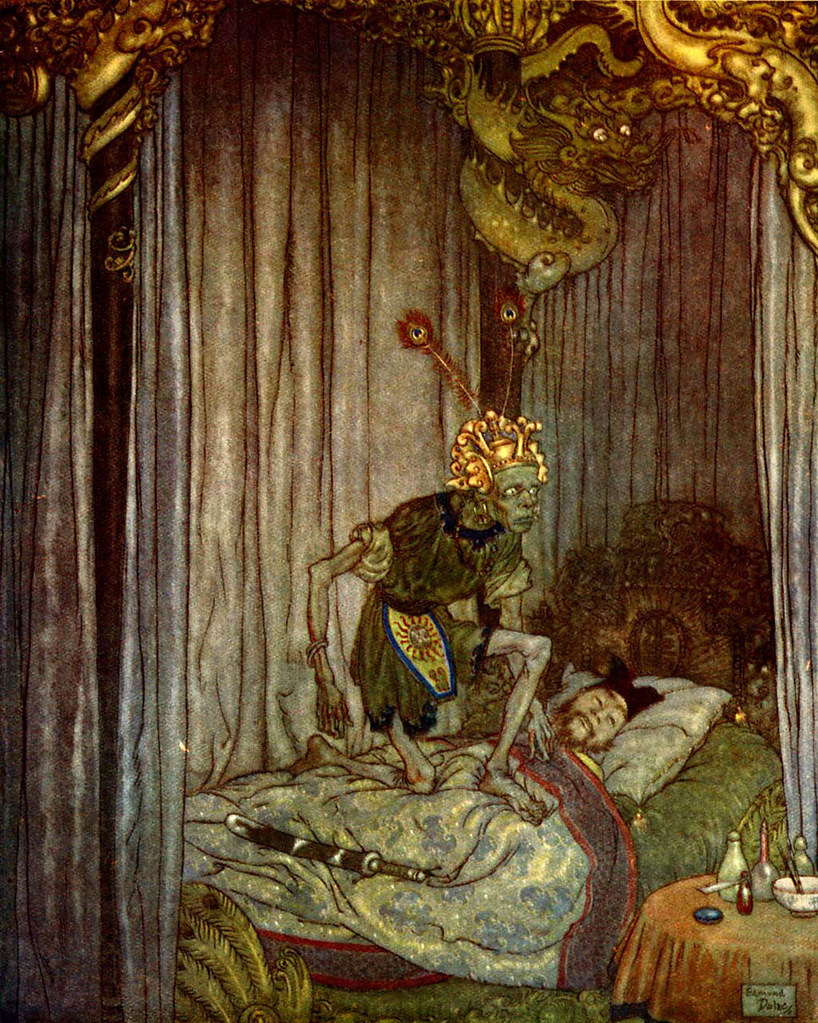 "Edmund Dulac -  ""Even Death himself listened to the song  and said, ""Go on, little nightingale,  go on!"" from the story ""The Nightingale""  found in ""Stories from Hans Andersen"" (1911)"