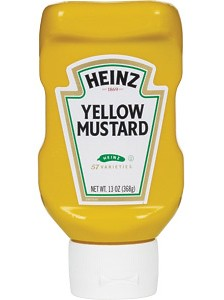 Upside-down mustard bottle
