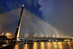 Rama VIII Bridge | Bangkok (I Prahin | www.southeastasia-images.com) Tags: bridge urban night reflections river thailand lights suspension bangkok chaophrayariver thonburi rama8bridge singlepylon anandamahidol gettyimagessoutheastasiaq2 savedbythehotboxgroup