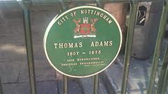 Photo of Thomas Adams green plaque