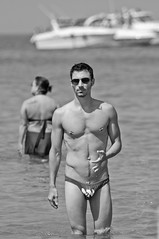 Hollywood Beach 07-17-11-61 (Puparrazi PhotographY) Tags: gay summer sun lake chicago man hot sexy men guy beach wet water pecs muscles tattoo swim boats sand nikon suits nipple michigan ripped tan july il rings hollywood latino speedo stud picnik stubble d90 n2n