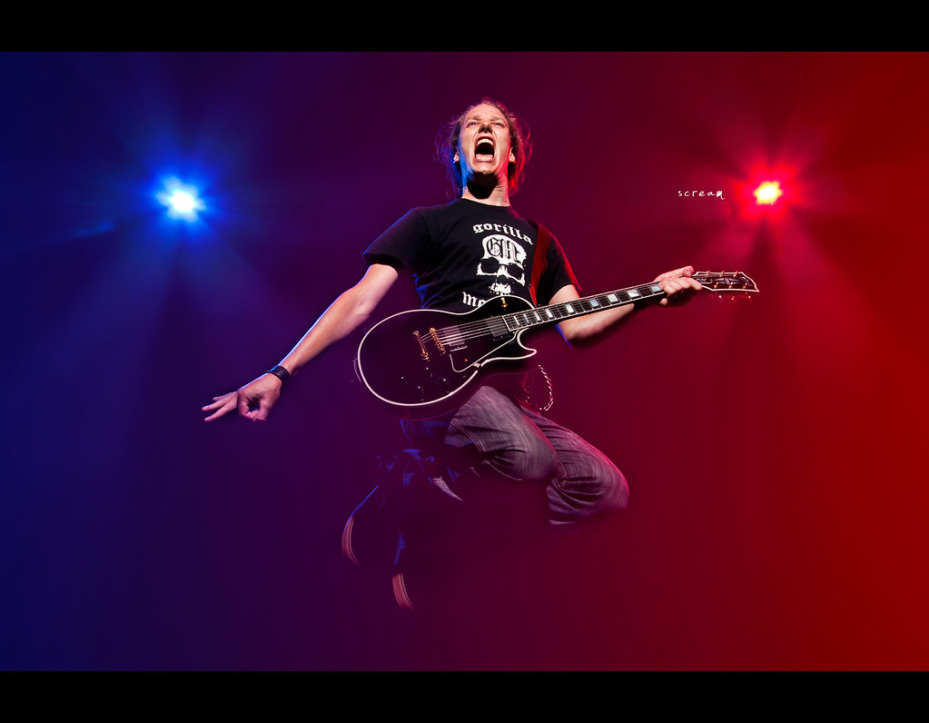 Project 365, Day 347, 347/365, Strobist, Portrait, action, nightshot, guitar, gibson les paul, gibson, les paul custom, red blue, jump, rockstar, Canon EF 10-22 f3.5-4.5,