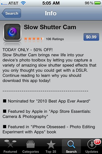 Slow Shutter Cam app for iPhone