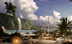 Pirates Island (UniqueCreativtiy) Tags: sea horse beach landscape island fire gold waterfall ship treasure gull ruin palmtree pirate barrot
