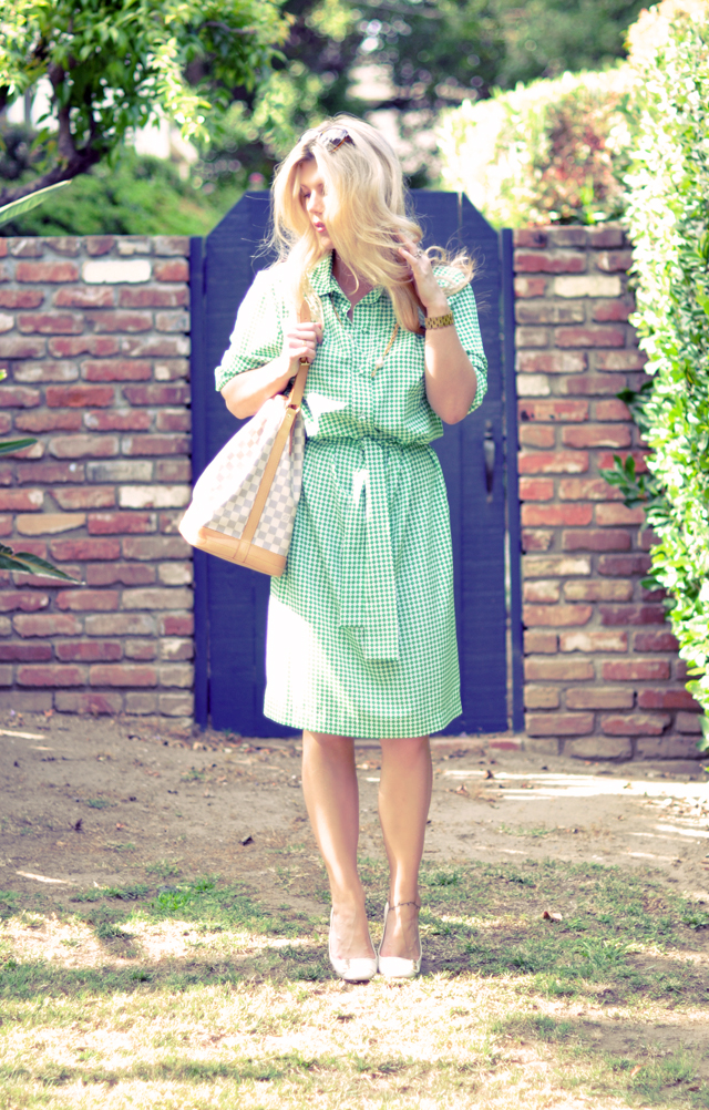 green and white vintage shirt dress+ long blonde hair