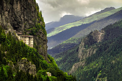 Sumela Monastery / TRABZON... (LORD OF THE FLOWERS) Tags: cloud mountain plant tree green history nature rock horizontal forest turkey landscape outdoors photography bush day religion tranquility nopeople