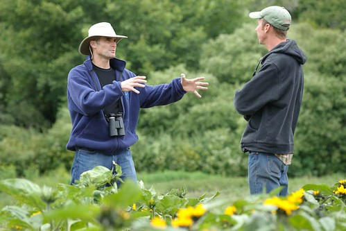 m Howard, Half Moon Bay District Conservationist, visits with Ryan Casey from Blue House Farms.