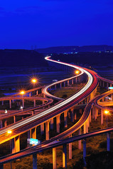 Interchange , (Vincent_Ting) Tags: sky architecture taiwan engineering freeway taichung   gettyimages  interchange  traffictrails hightway          vincentting