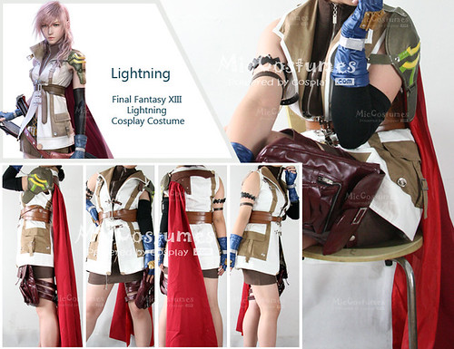 1-Final Fantasy XIII Lightning Cosplay Costume